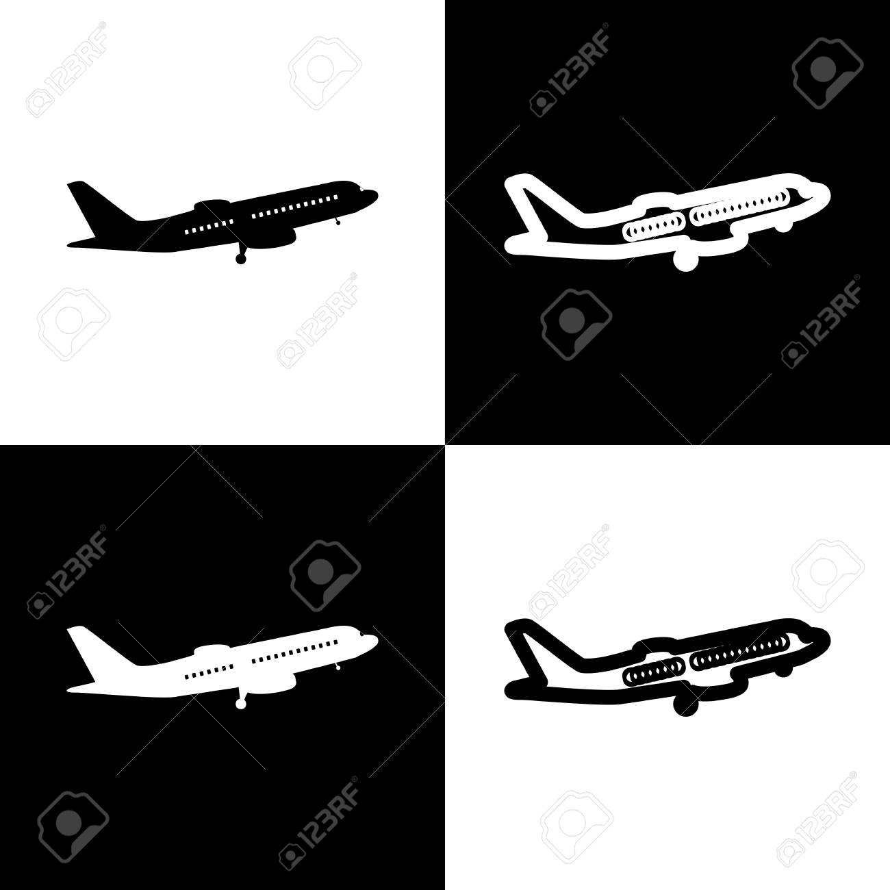 Flying Plane Sign Side View Vector Black And White Icons And