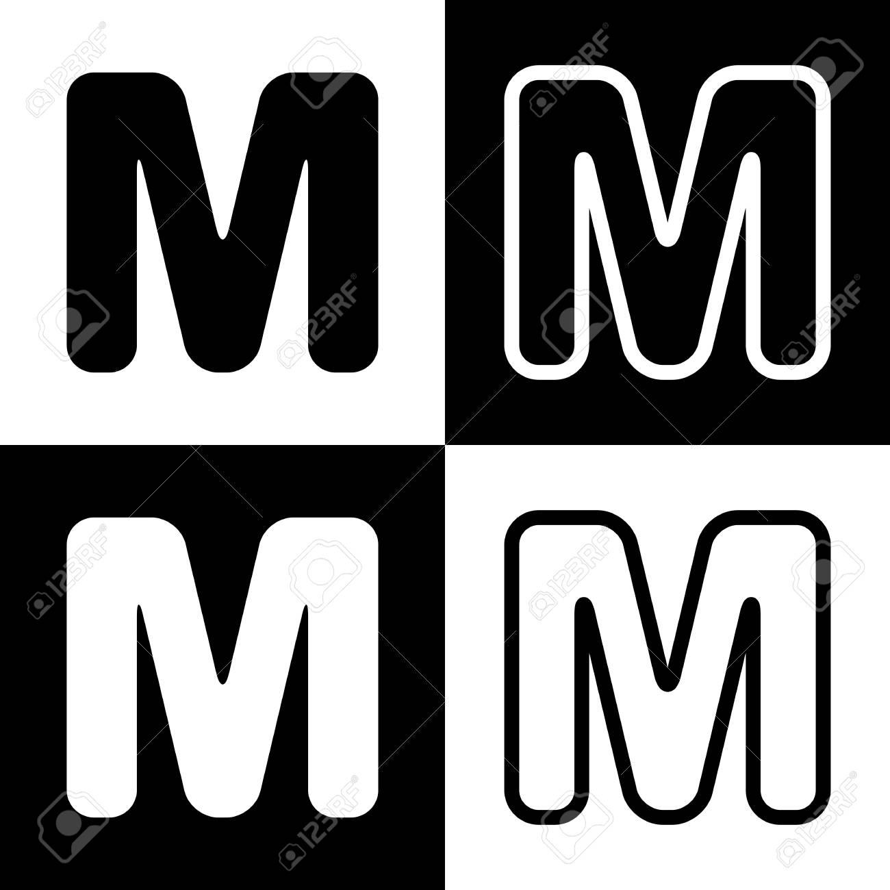 0b171b5dcda8 Elemento de plantilla de diseño de letra M signo. Vector. Iconos de blanco y