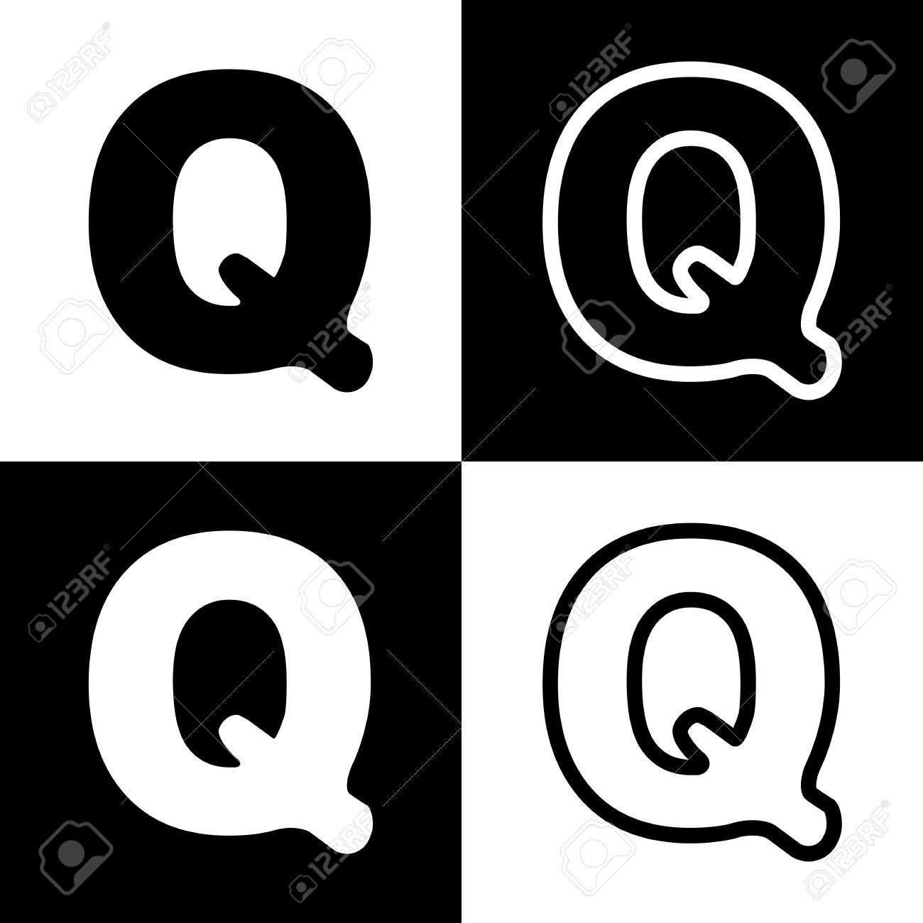 Letter Q Sign Design Template Element Vector Black And White
