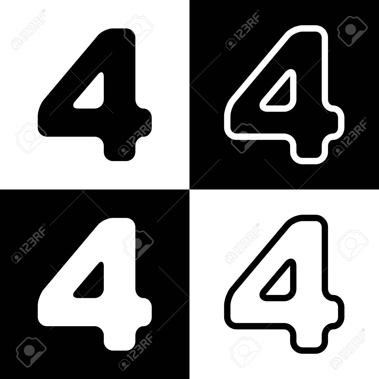 Number 4 Sign Design Template Element. Vector. Black And White ...