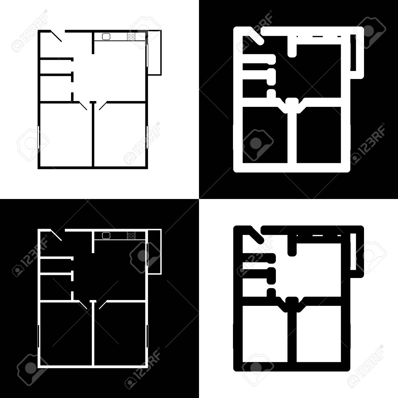 Apartment house floor plans. Vector. Black and white icons and.. on construction icons, workshop icons, drafting icons, design icons, land icons, fireplace icons, farm icons, architecture icons, drawing icons, head icons, study icons, foundation icons, room icons, builder icons, remodeling icons, human icons, london icons, housing icons, household icons, architectural icons,