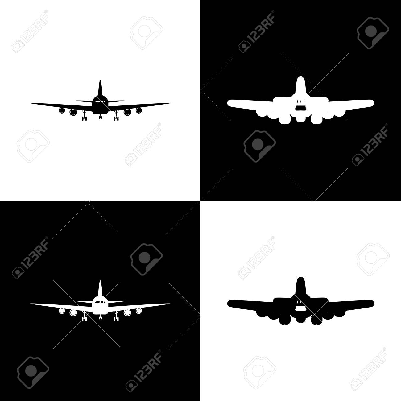 Flying Plane Sign Front View Vector Black And White Icons