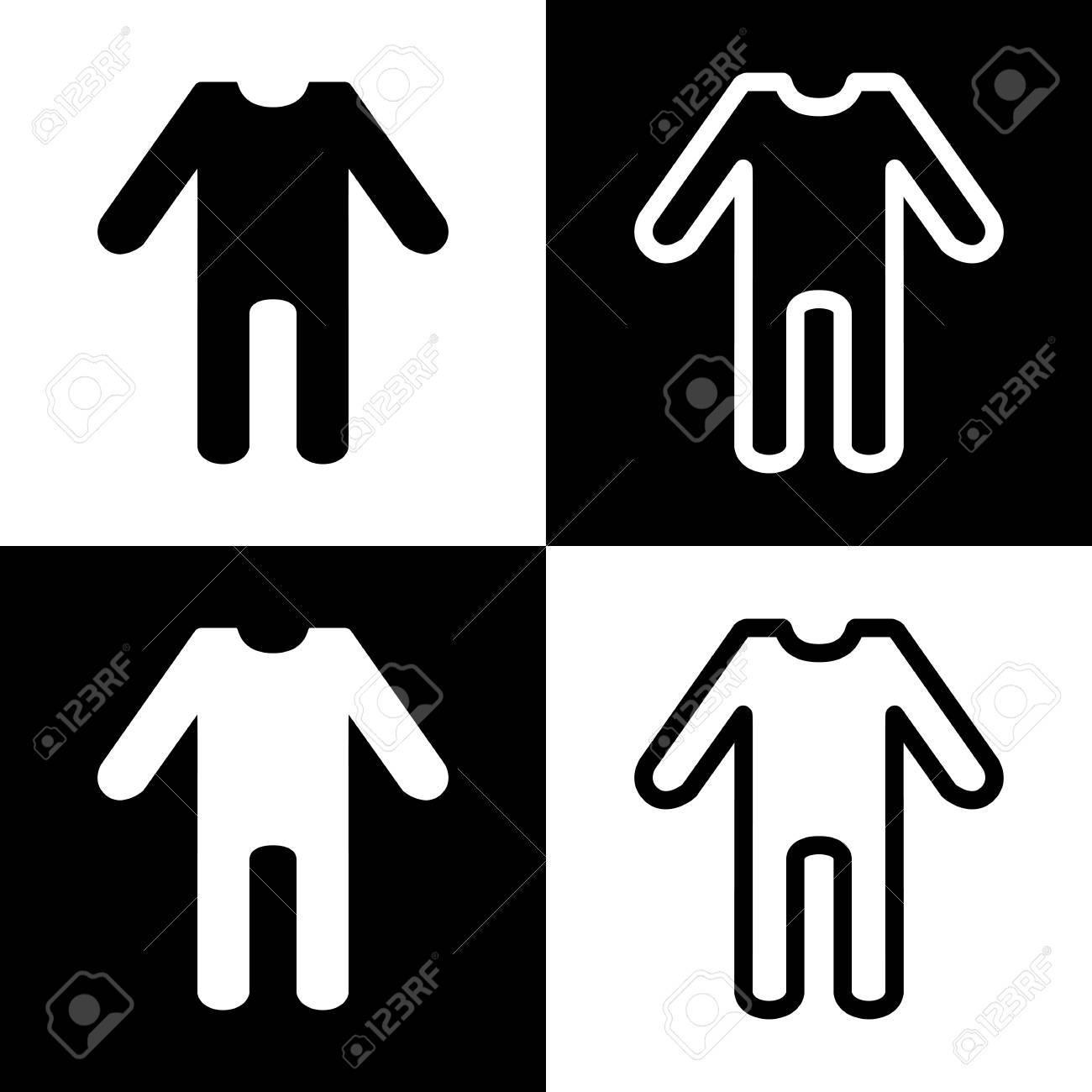 Foto de archivo - Signo de ropa de bebé. Vector. Iconos de blanco y negro y  el icono de línea en el tablero de ajedrez. 737adabeb6f9