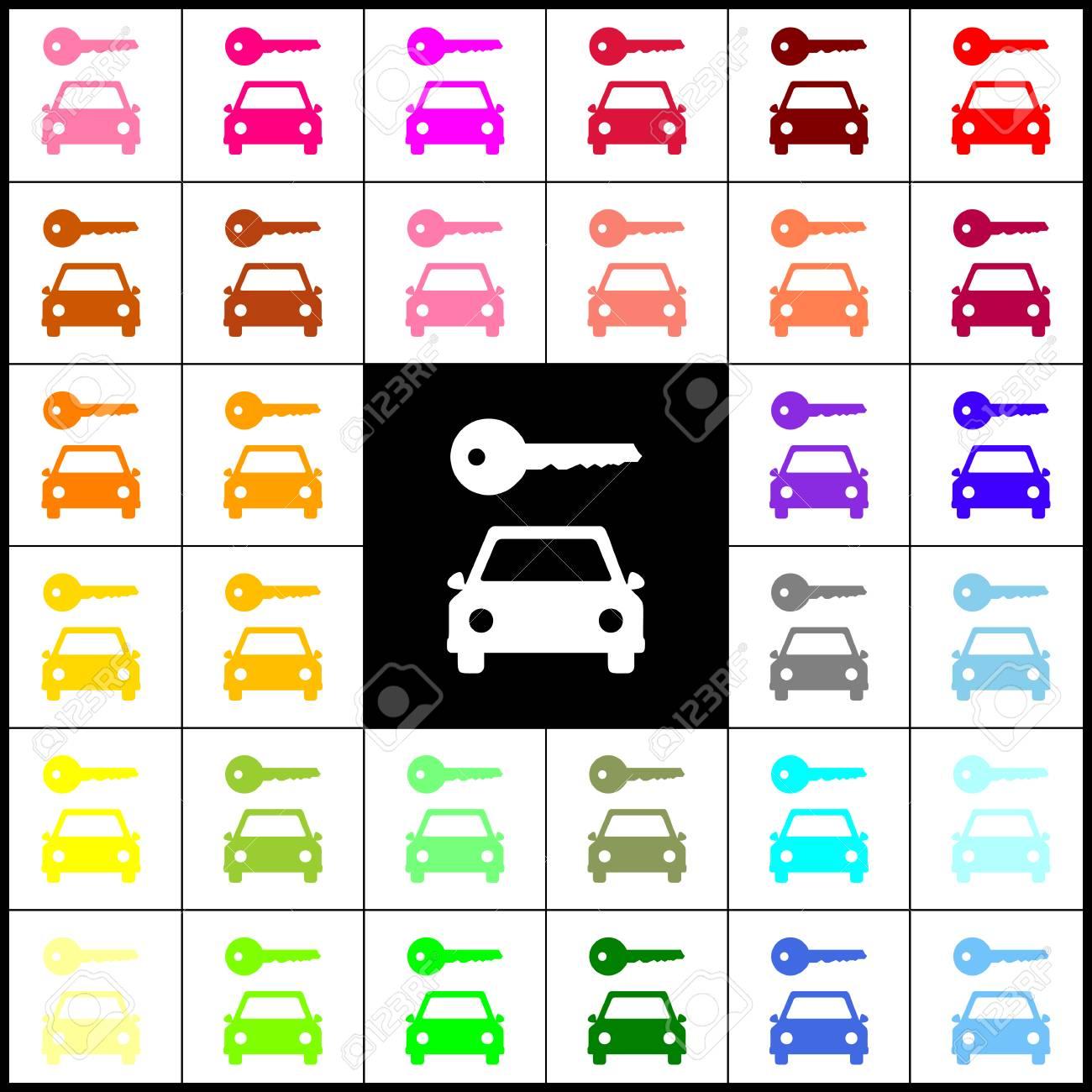 Einfaches Zeichen Des Autoschlüssels. Vektor. Bunte Ikonen Des ...