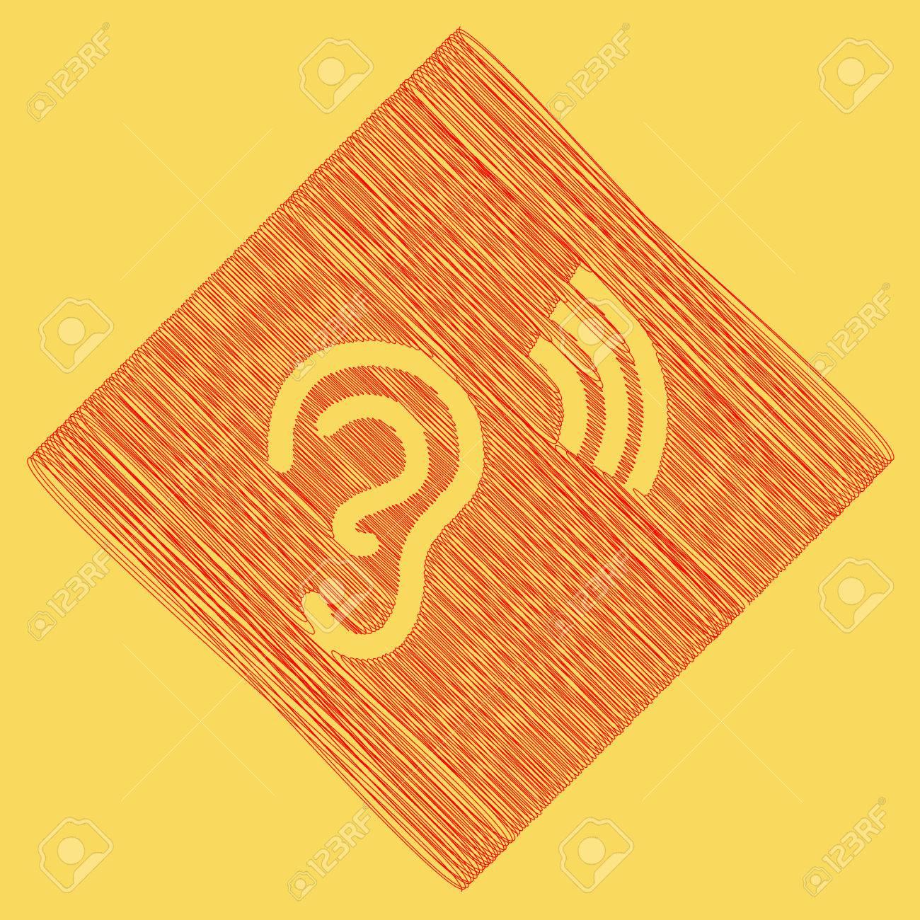 Anatomía Humana. Signo Del Oído Con Soundwave. Vector. Icono De ...