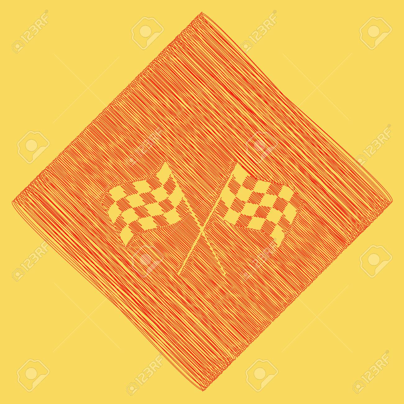 Crossed Checkered Flags Logo Waving In The Wind Conceptual Of Motor