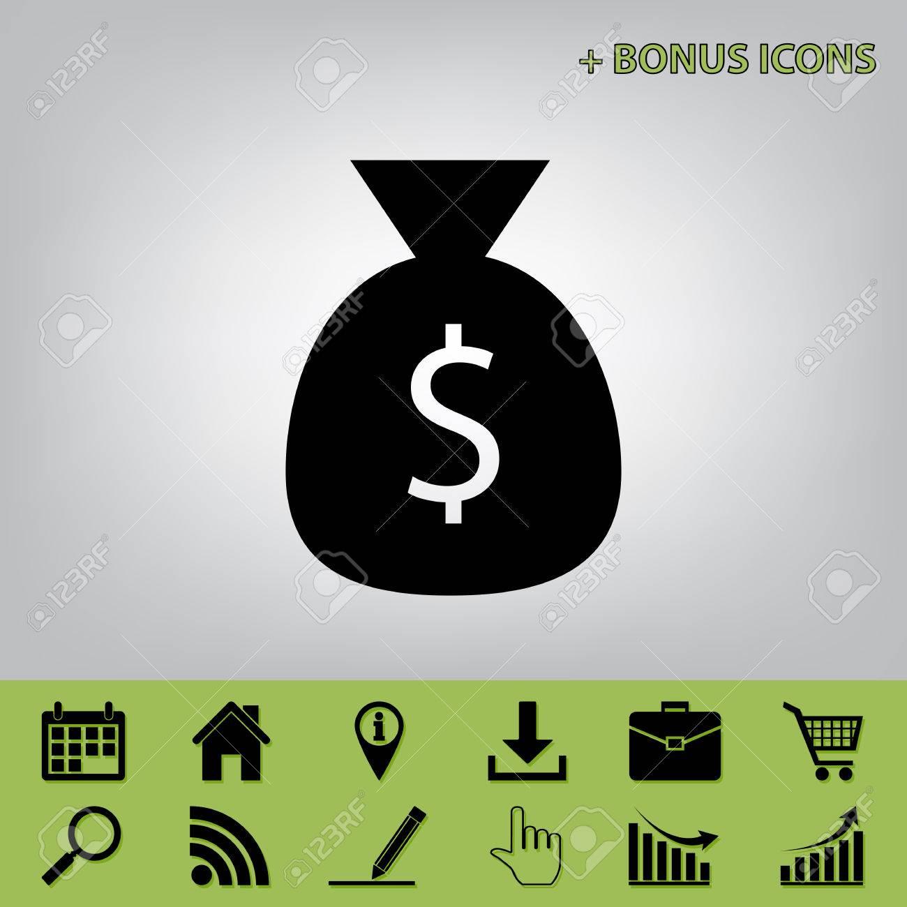 Illustration de signe de sac d'argent. Vecteur. Icône noire sur fond gris avec des icônes bonus au céleri