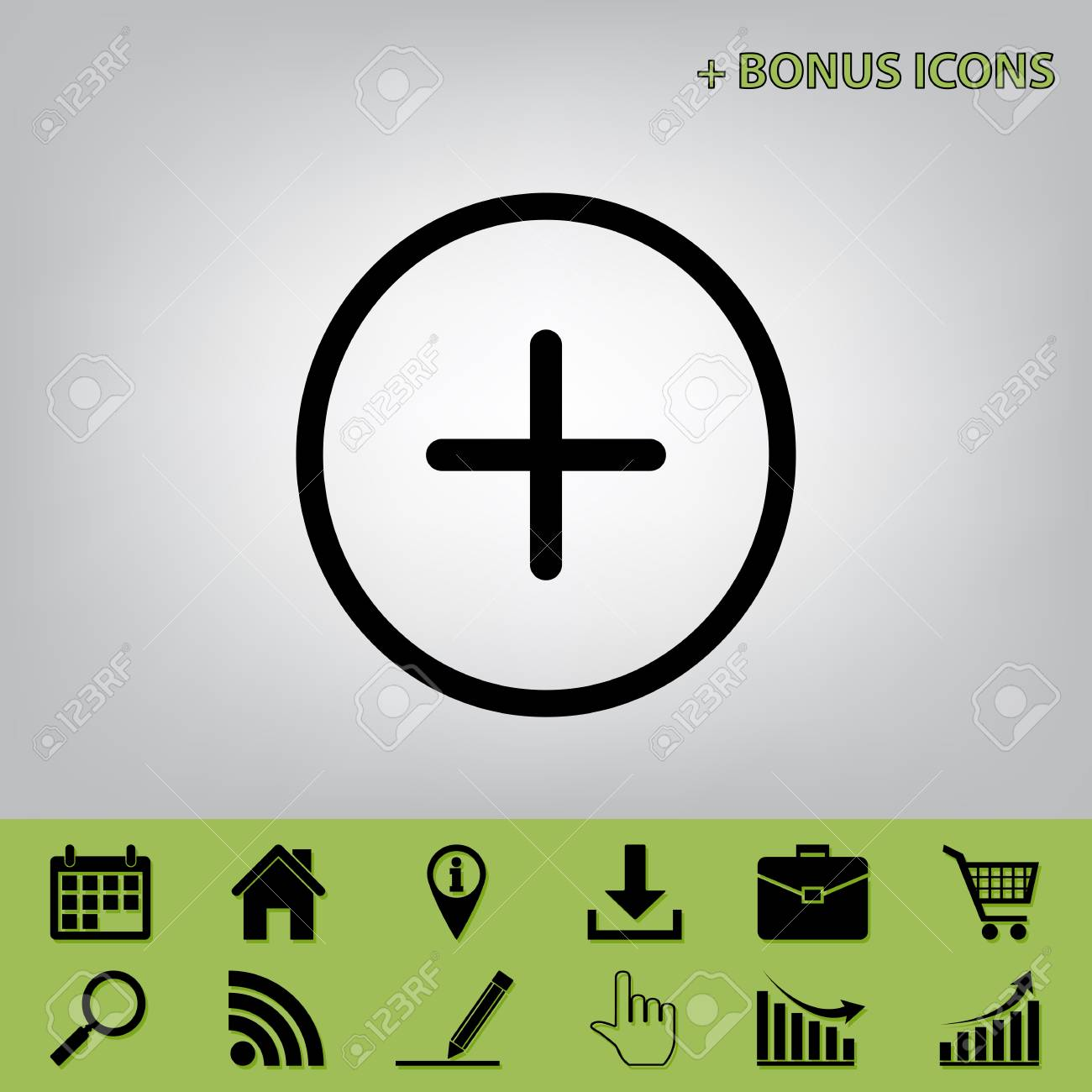 Positive Symbol Plus Sign Vector Black Icon At Gray Background