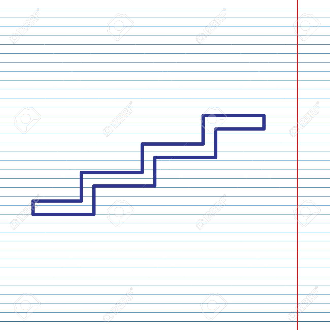 stair up sign vector navy line icon on notebook paper as rh 123rf com lined notebook paper vector spiral notebook paper vector