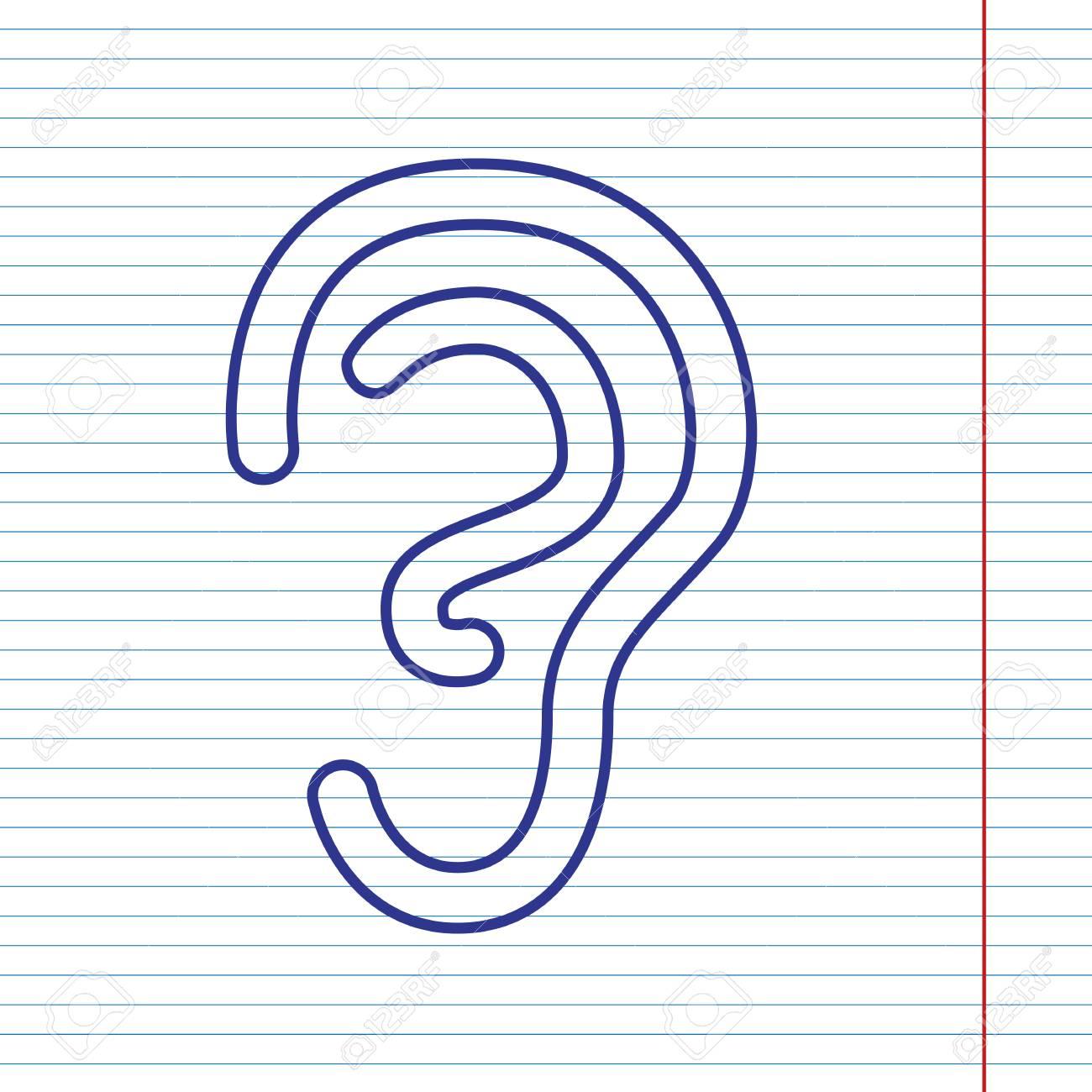 Anatomía Humana. Señal De Oído Vector. Icono De Línea Azul Marino En ...