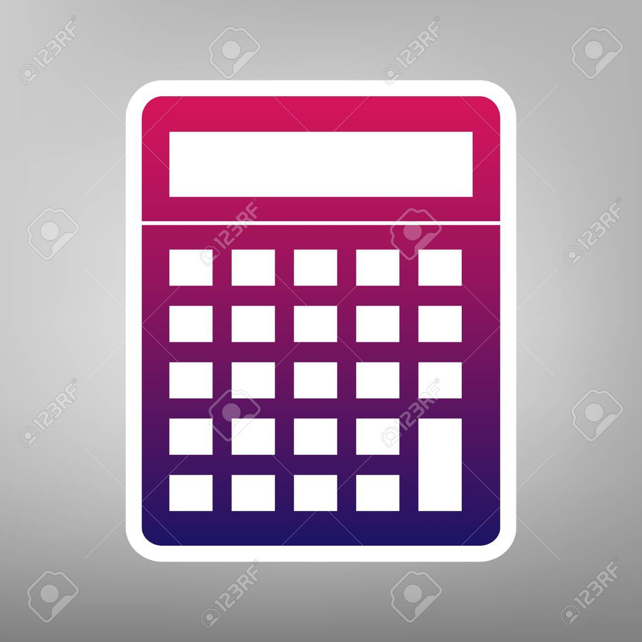 calculator simple sign vector purple gradient icon on white