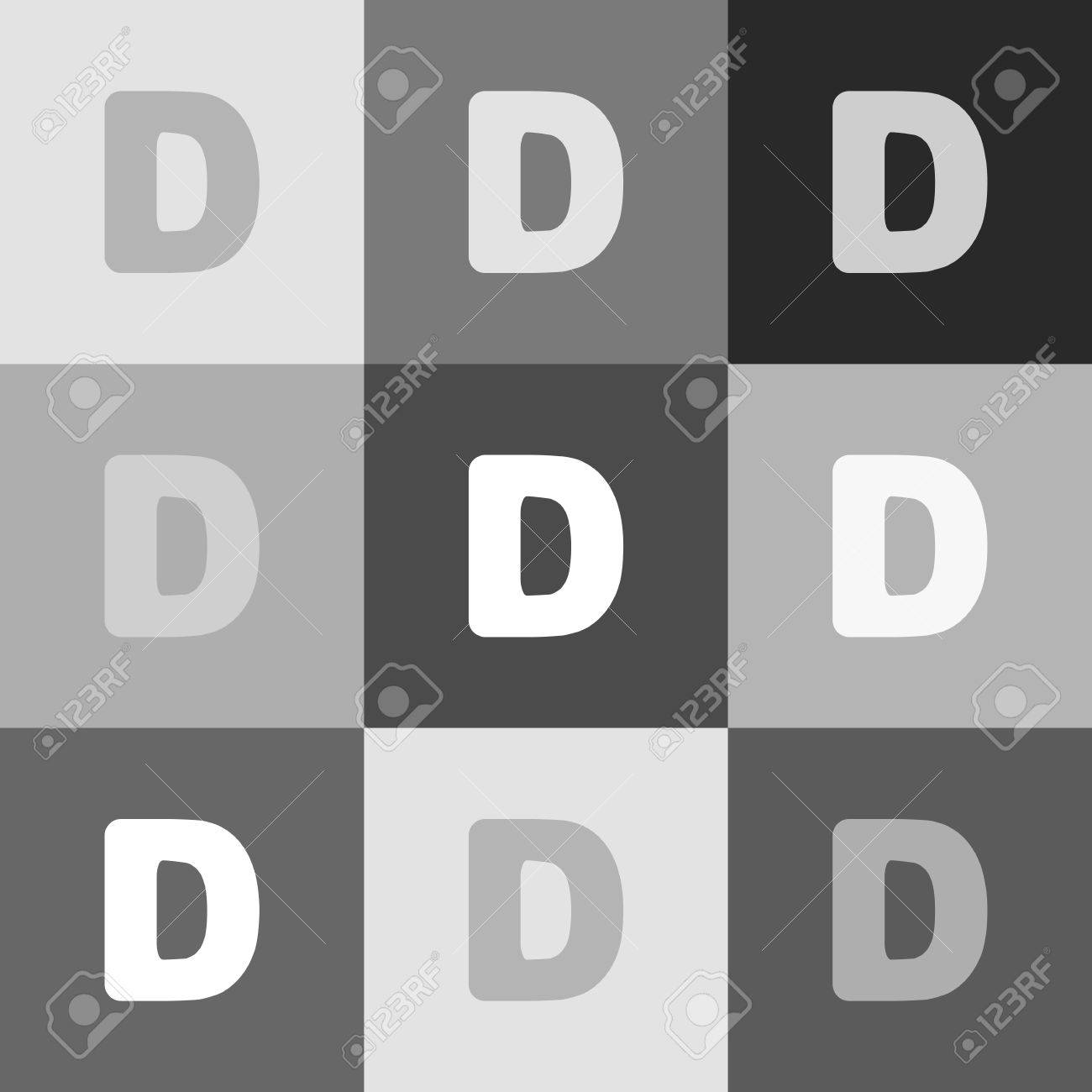 Letter D Sign Design Template Element. Vector. Grayscale Version ...