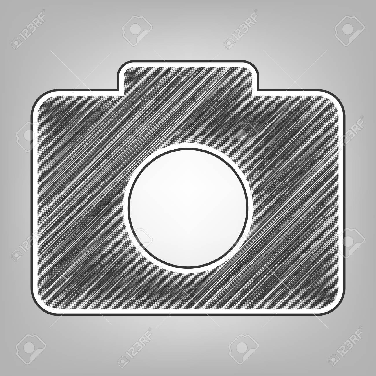 Digital camera sign vector pencil sketch imitation dark gray scribble icon with dark