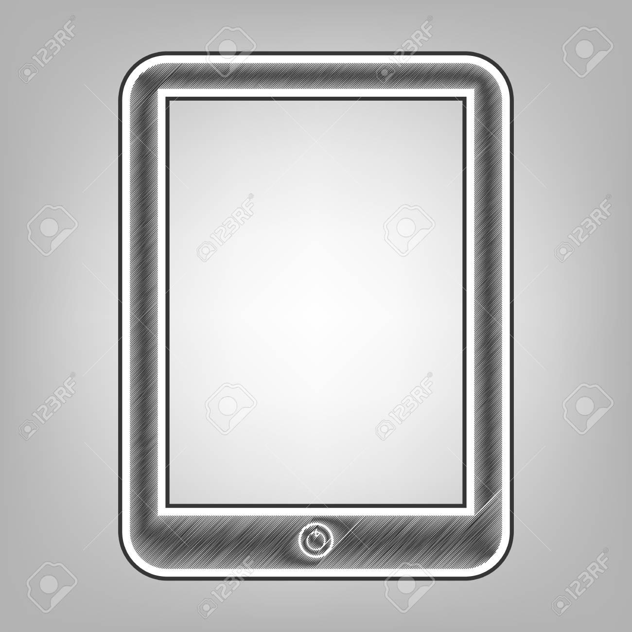 Computer Tablet Sign Vector Pencil Sketch Imitation Dark Gray