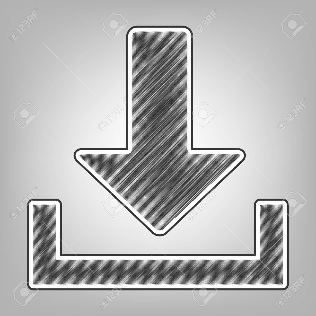Download sign illustration vector pencil sketch imitation dark gray scribble icon with dark