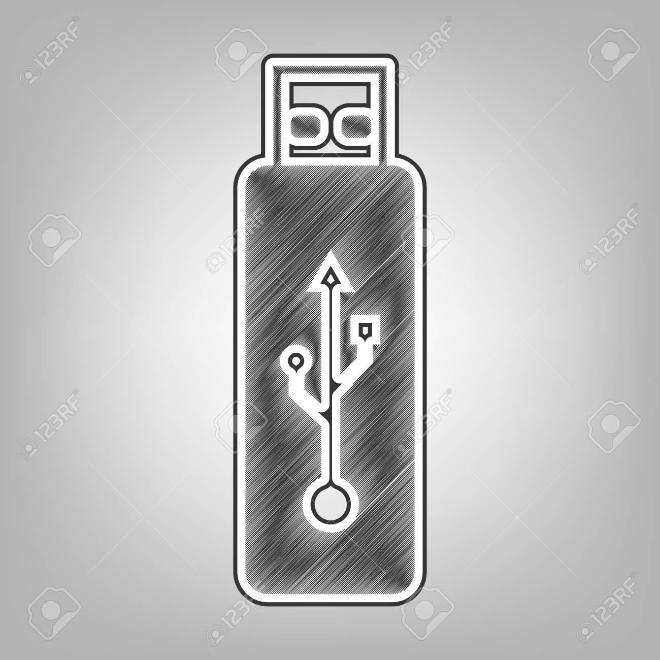 Signo De Unidad Flash Usb De Vector Vector Dibujo A Lápiz De Imitación Icono De Garabato Gris Oscuro Con Contorno Exterior Gris Oscuro En El Fondo