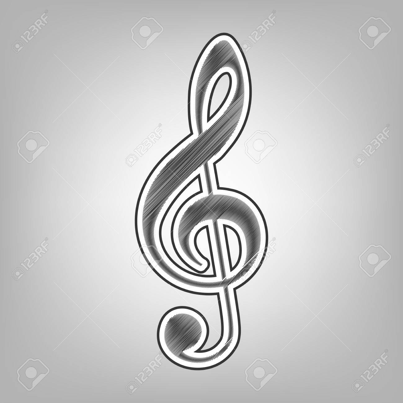 Music violin clef sign g clef treble clef vector pencil sketch