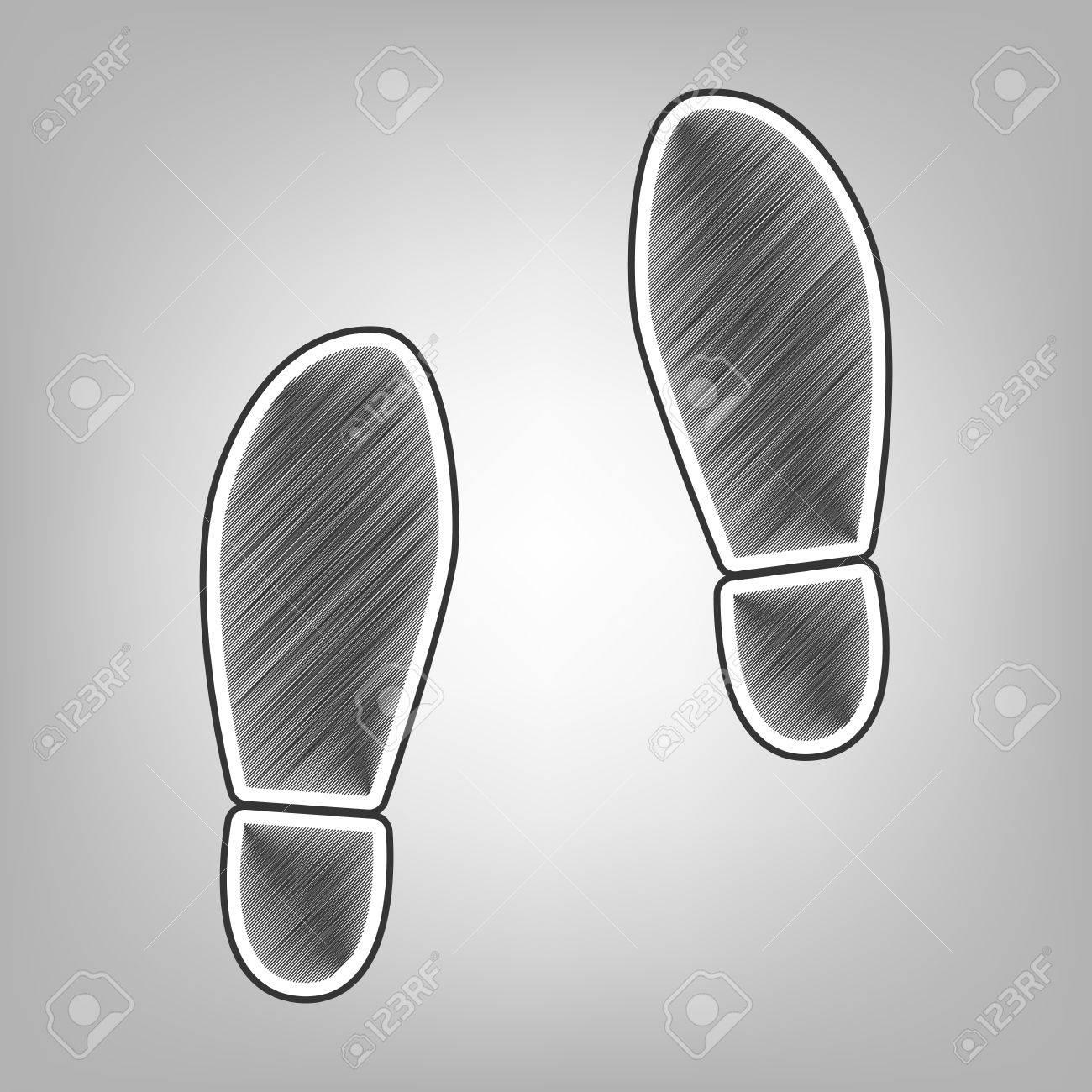 Imprint soles shoes sign vector pencil sketch imitation dark gray scribble icon with