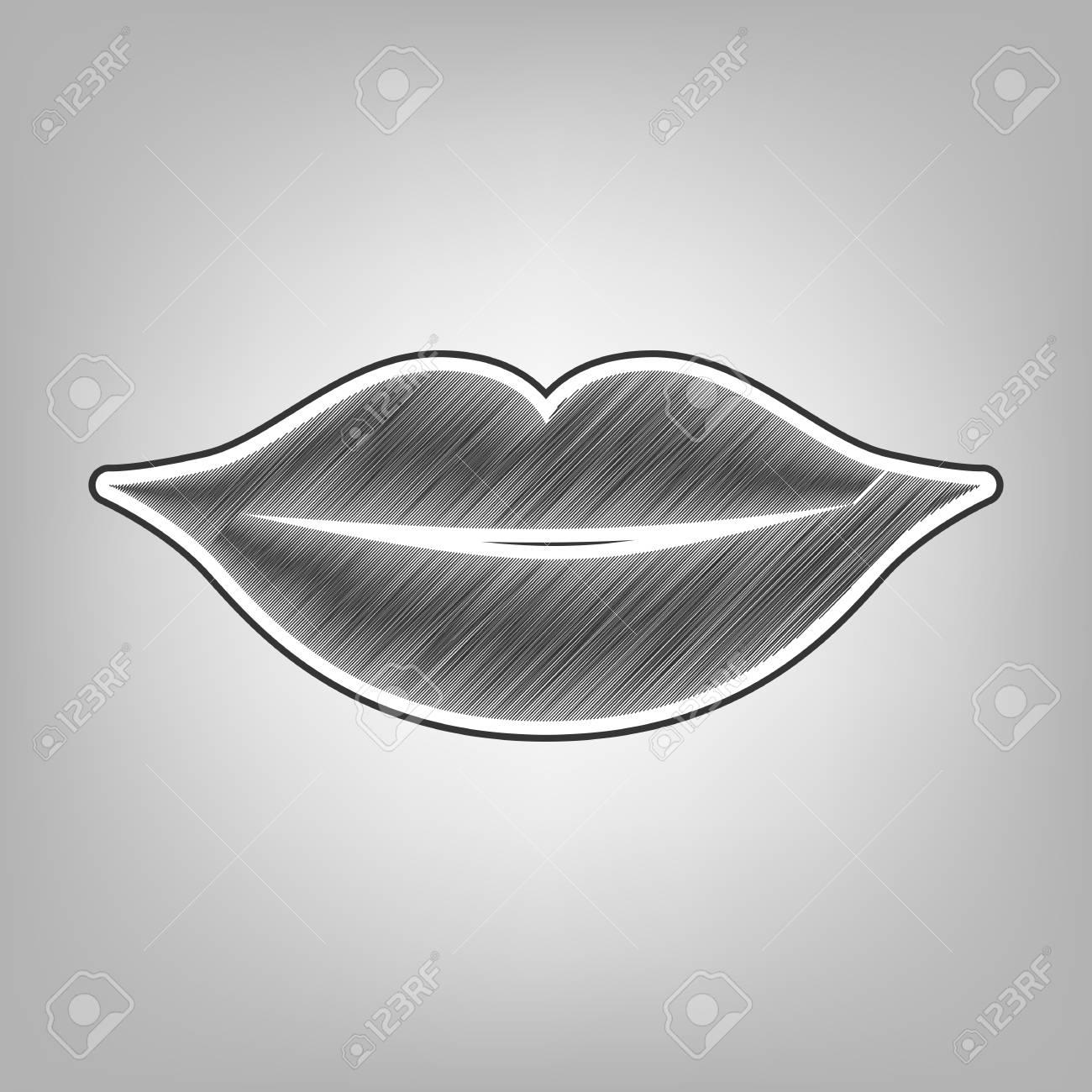 Lips sign illustration vector pencil sketch imitation dark