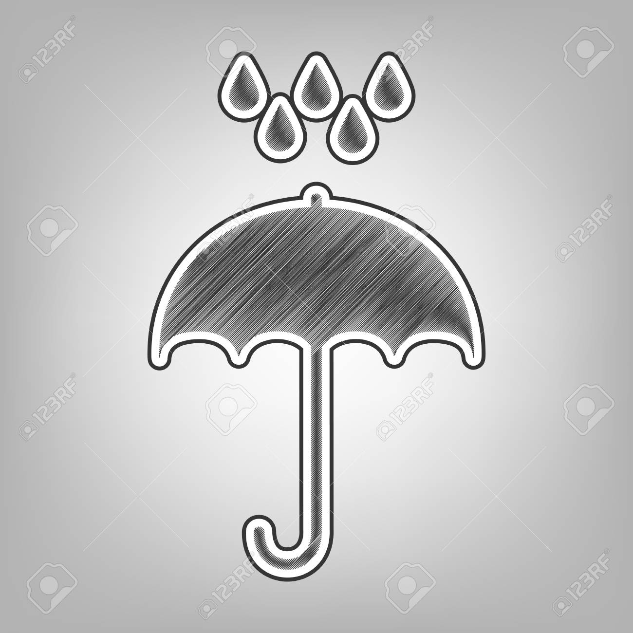 Umbrella with water drops rain protection symbol flat design style vector pencil