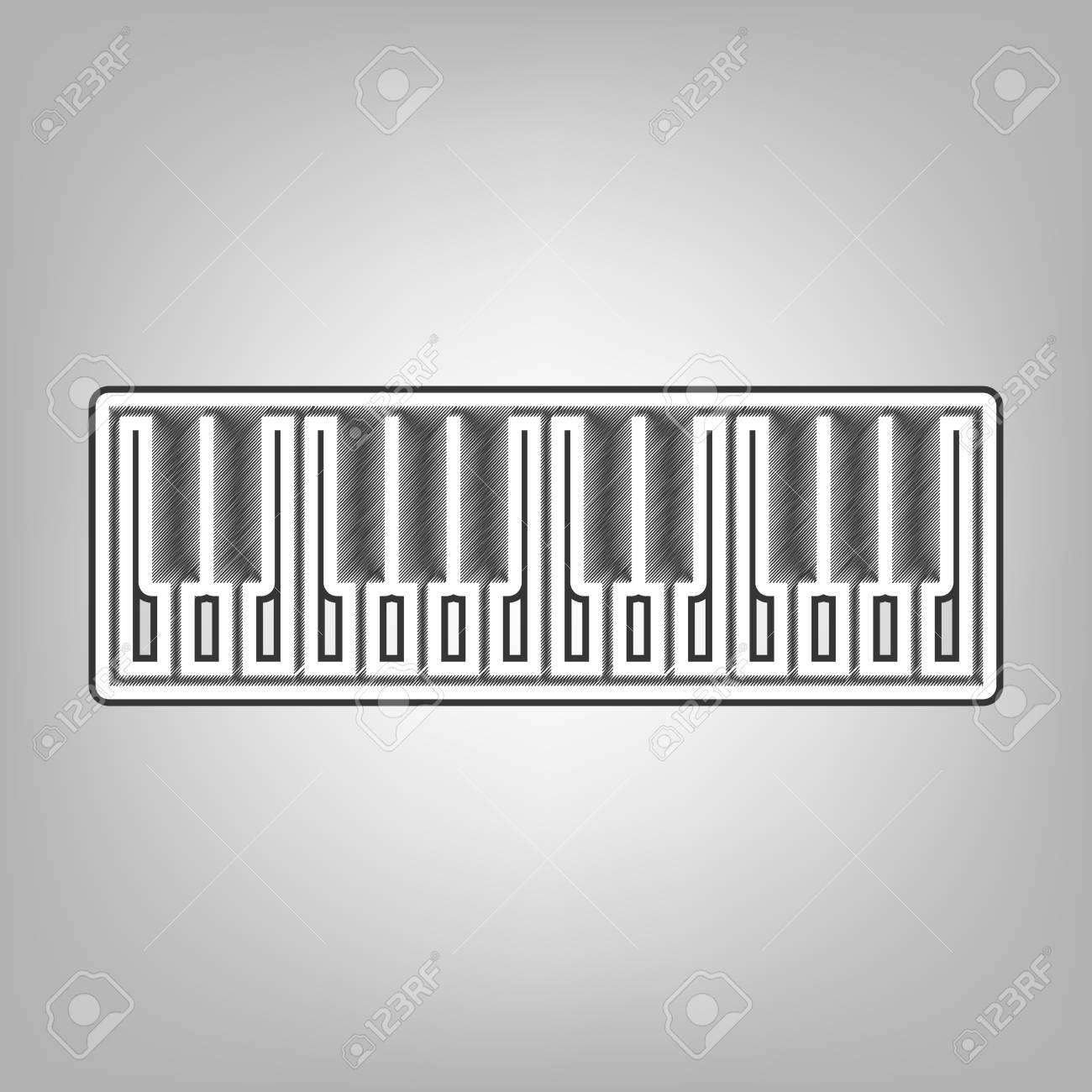 Piano Keyboard sign  Vector  Pencil sketch imitation  Dark gray