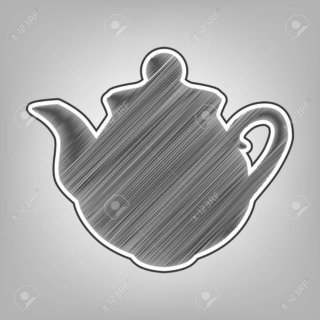 Tea maker sign vector pencil sketch imitation dark gray scribble icon with dark