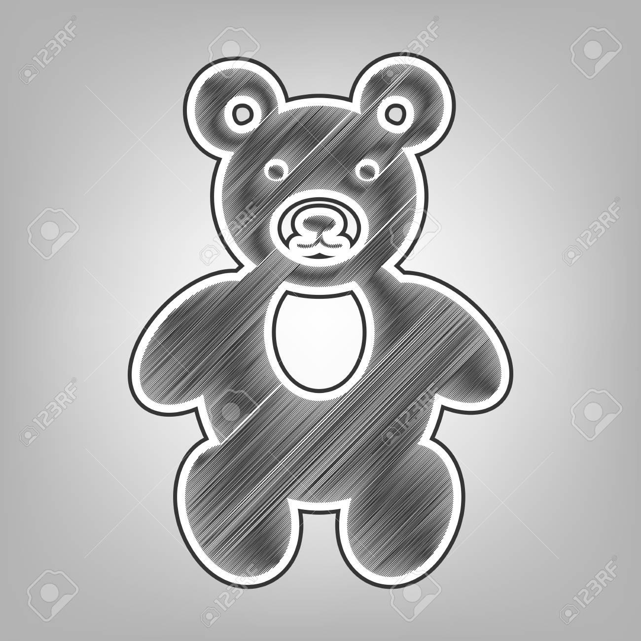 Teddy bear sign illustration vector pencil sketch imitation