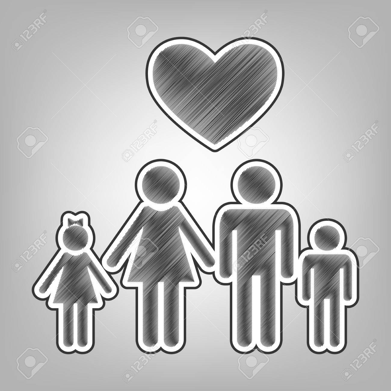 Family symbol with heart husband and wife are kept childrens hands love vector