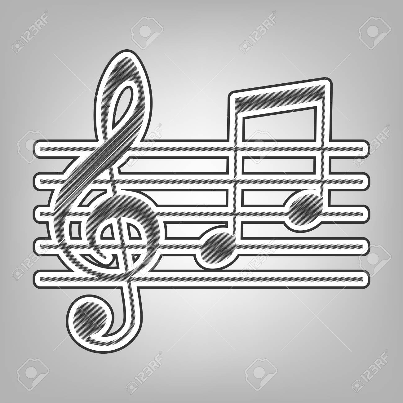 Music violin clef sign g clef and notes g h vector pencil