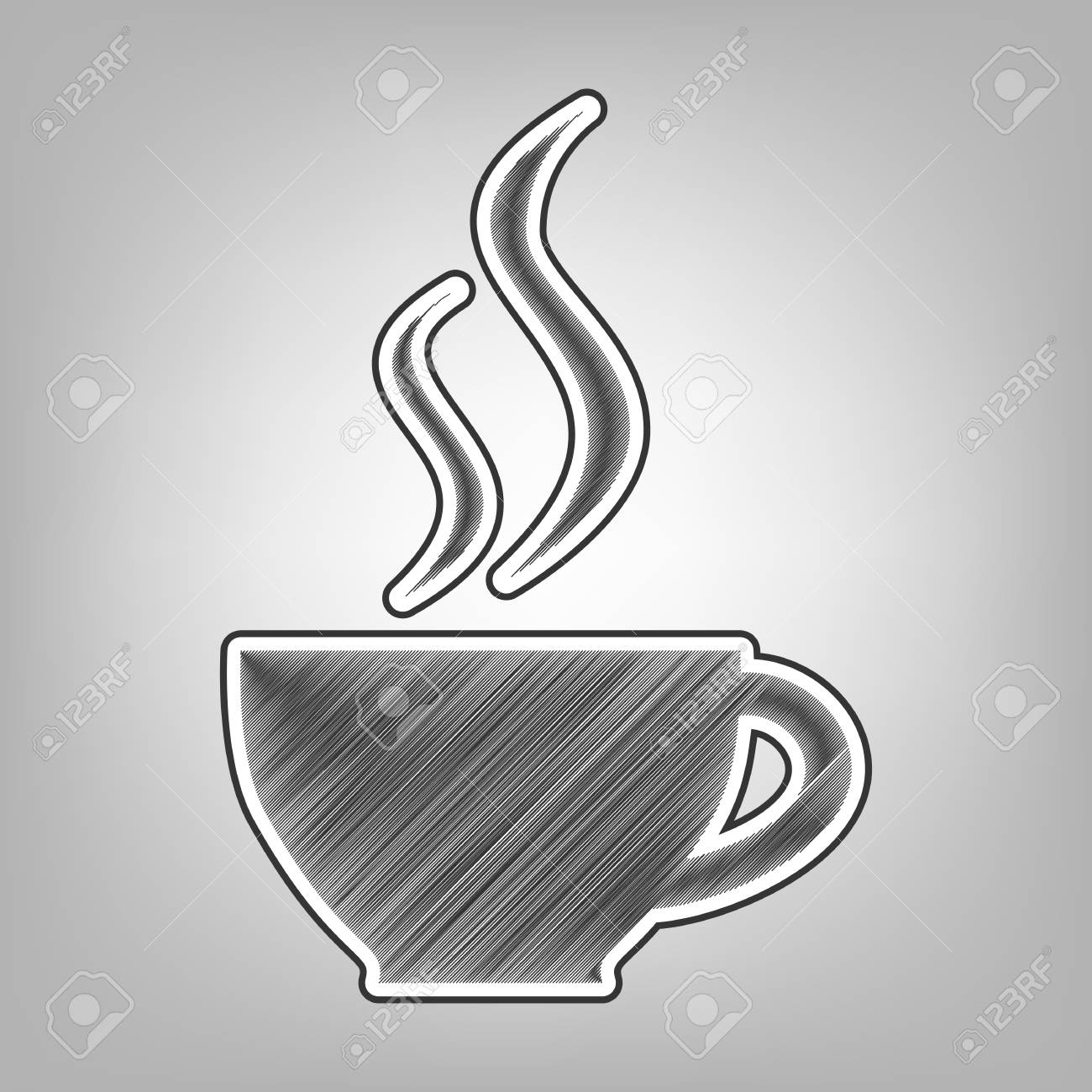 Cup sign with two small streams of smoke vector pencil sketch imitation dark