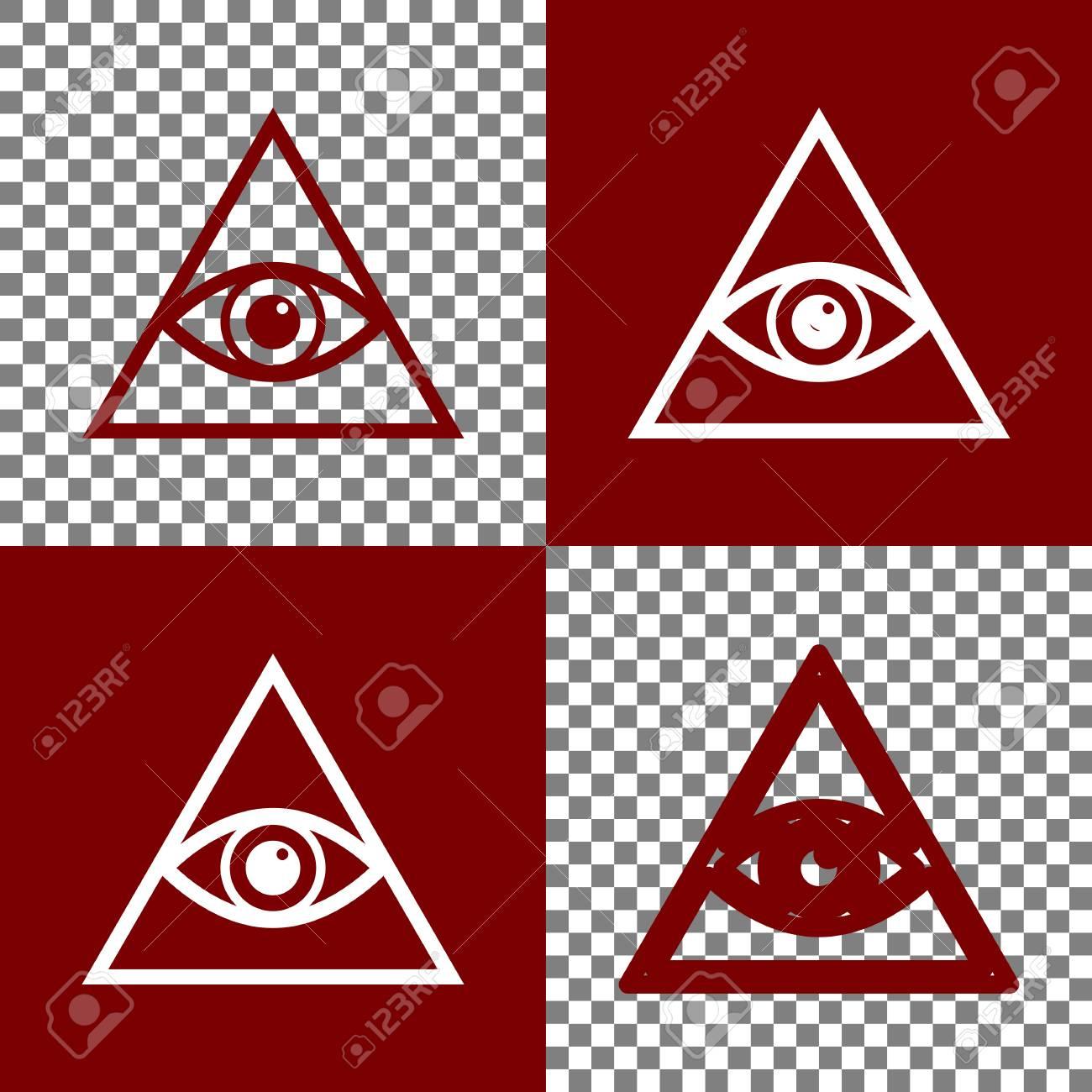 4401604719e69 Foto de archivo - Todos viendo el símbolo de la pirámide del ojo.  Francmasón y espiritual. Vector. Bordo y blanco iconos e iconos de línea en  el tablero de ...