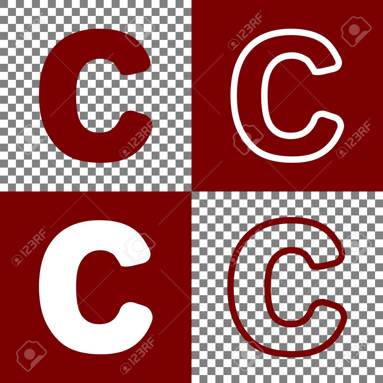 letter c sign design template element vector bordo and white