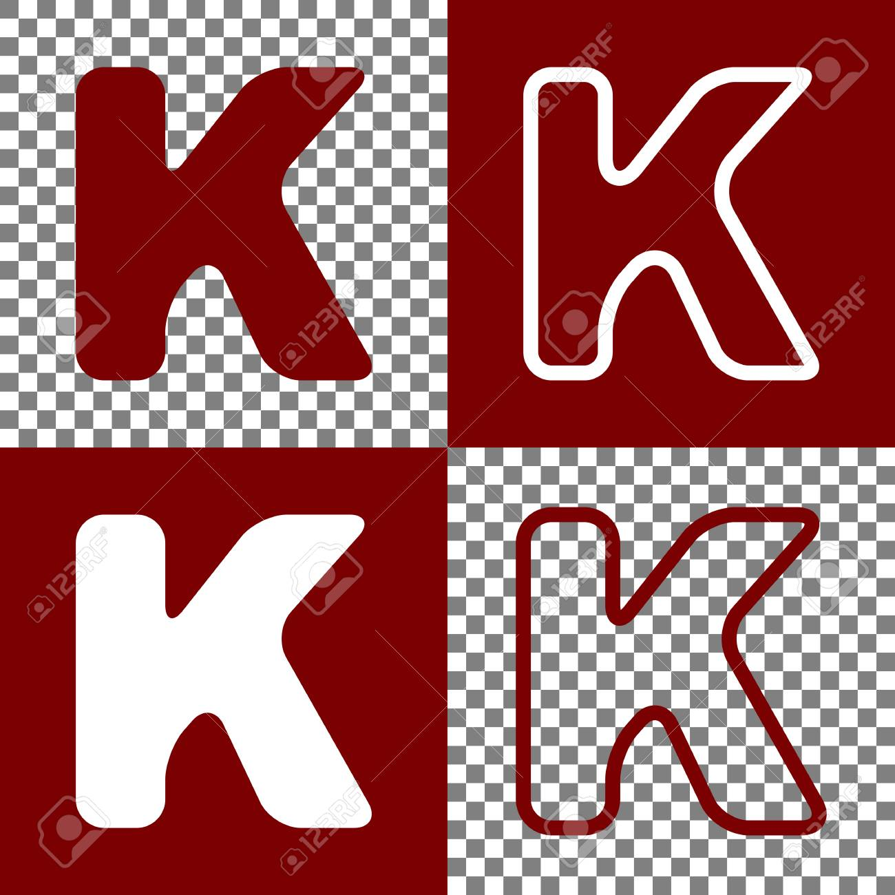 letter k sign design template element vector bordo and white icons and line icons