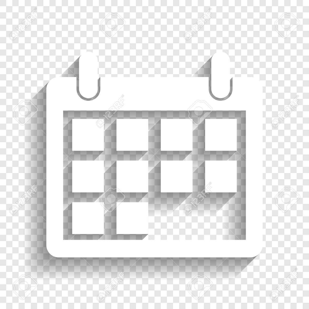 Calendario Vector Blanco.Ilustracion De La Muestra Del Calendario Vector Icono Blanco Con Suave Sombra Sobre Fondo Transparente