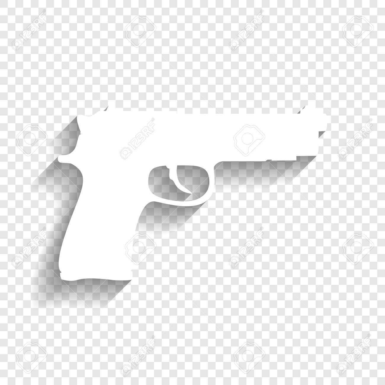 gun sign illustration vector white icon with soft shadow on