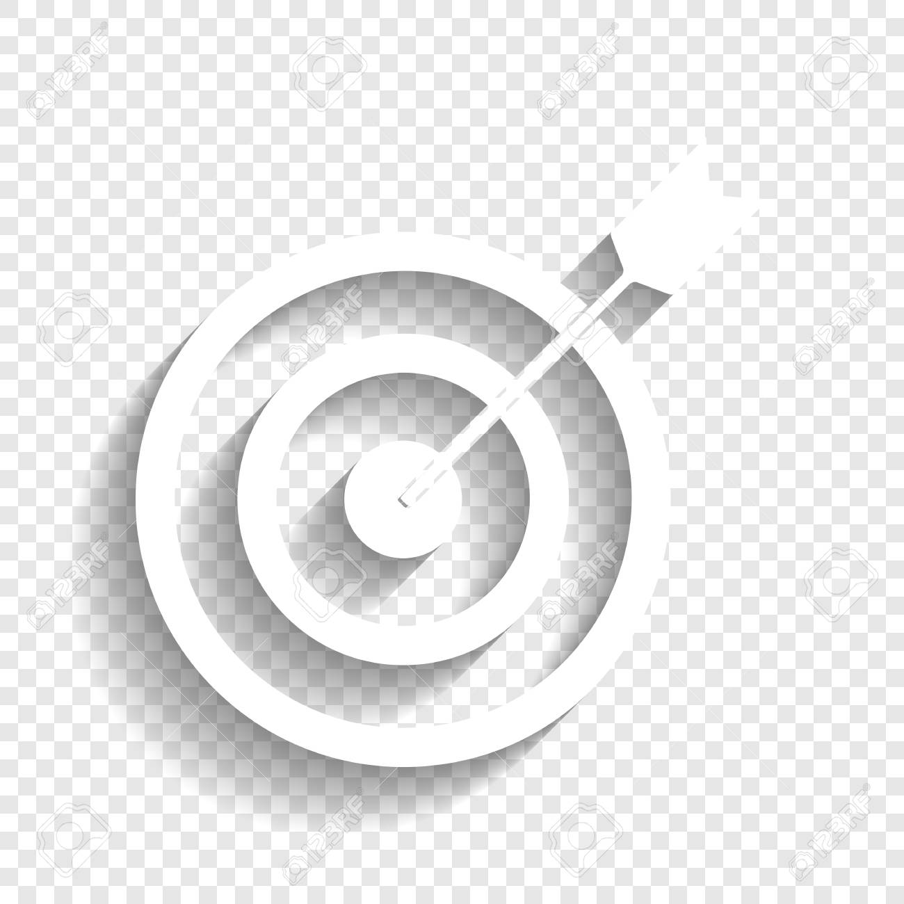 Target With Dart Vector White Icon With Soft Shadow On Transparent