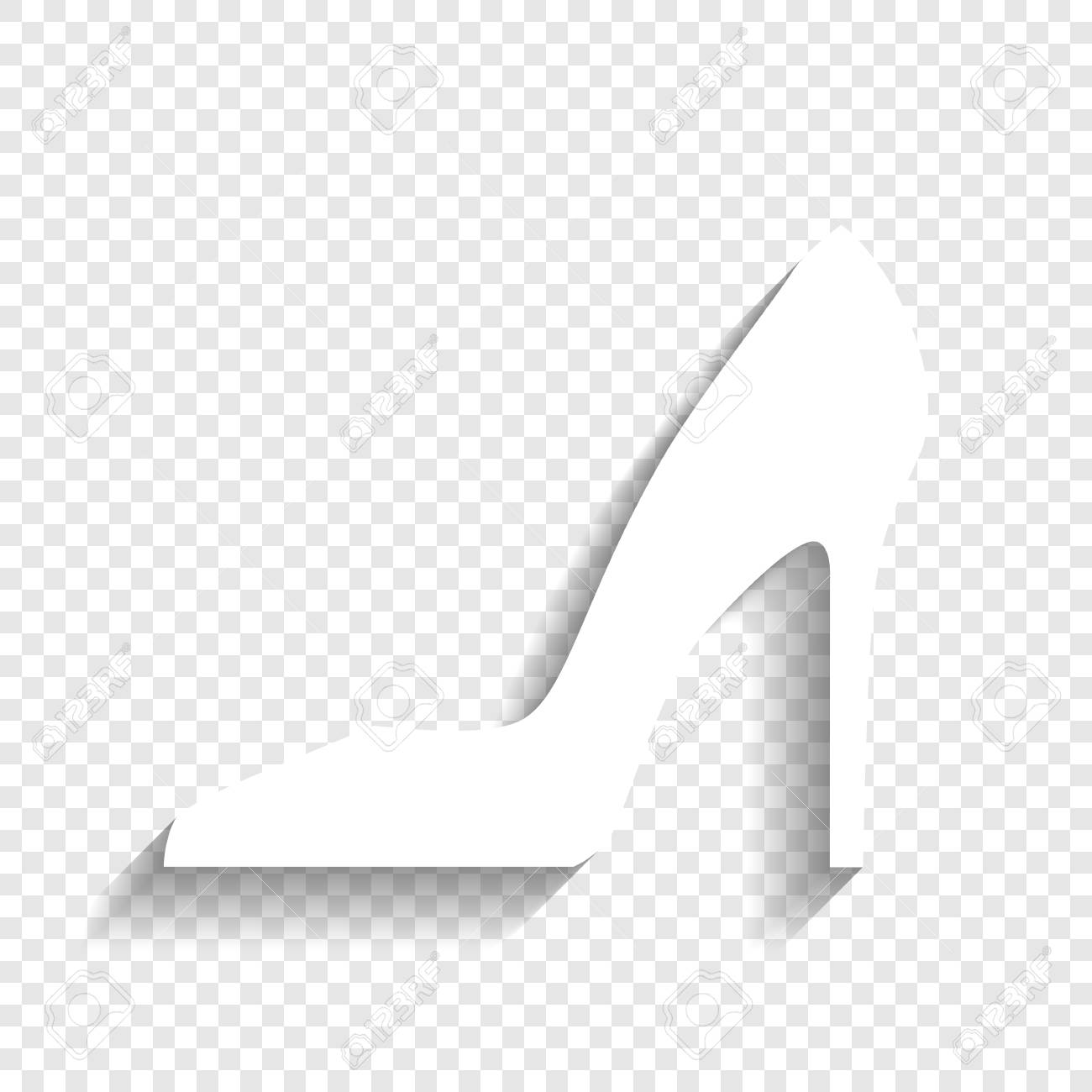 2efe67414907 Vector - Woman shoe sign. Vector. White icon with soft shadow on  transparent background.