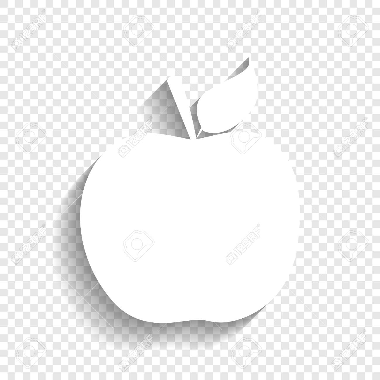 apple sign illustration. vector. white icon with soft shadow