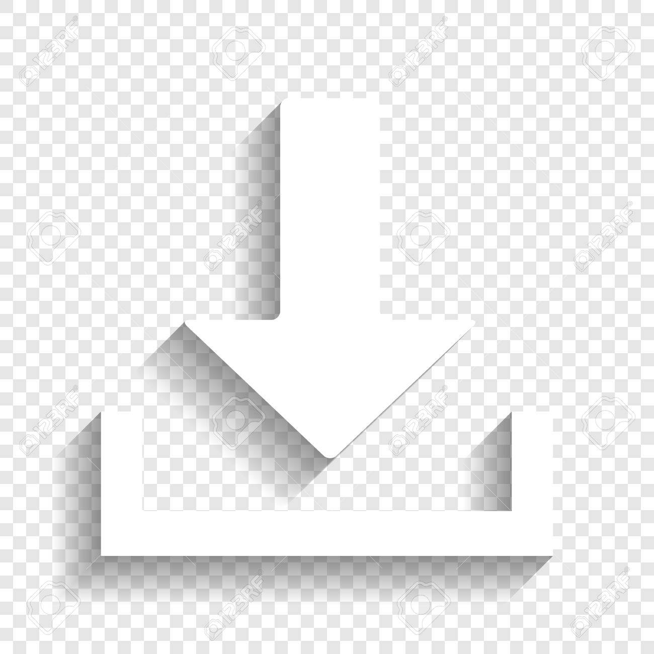Download Sign Illustration Vector White Icon With Soft Shadow