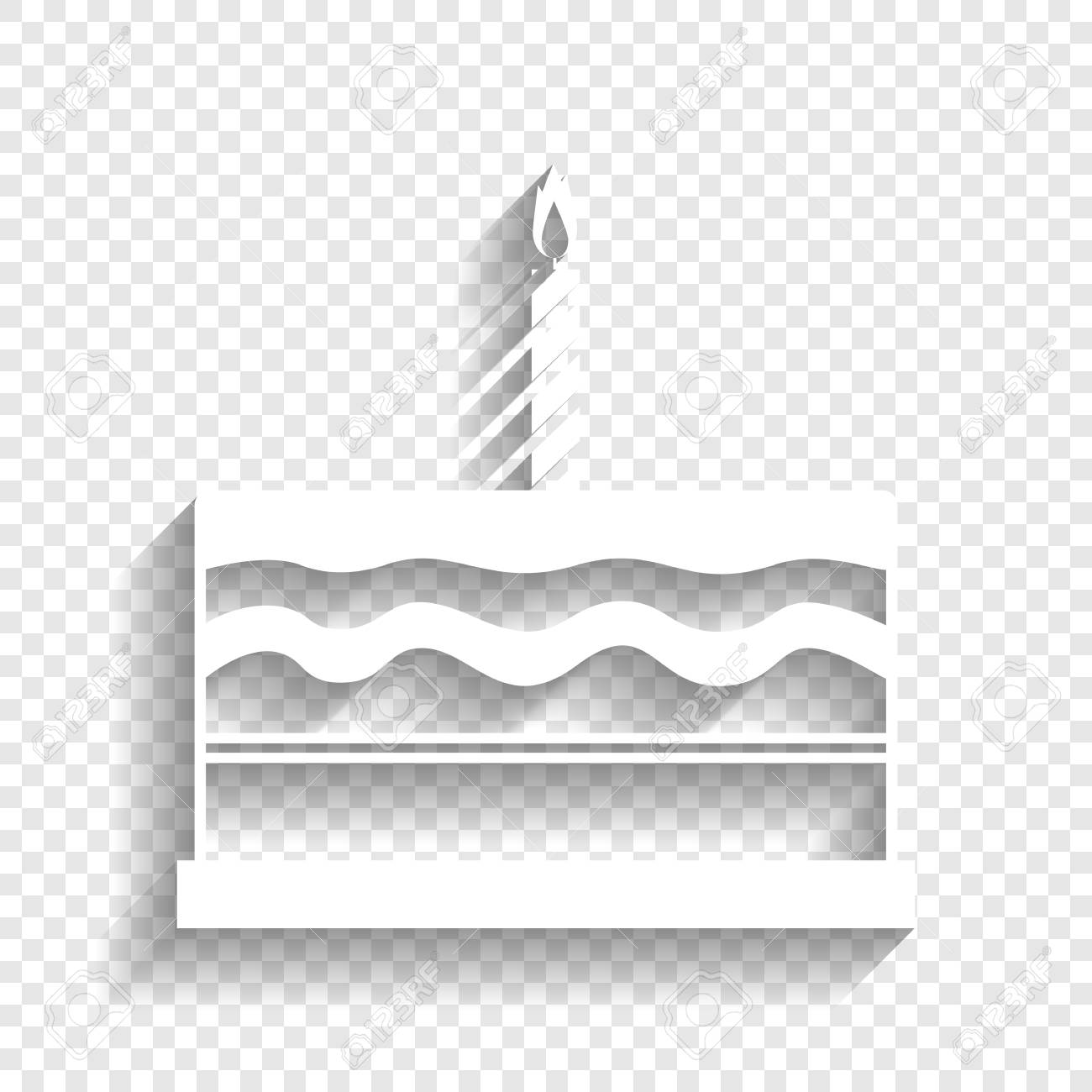 Birthday Cake Sign Vector White Icon With Soft Shadow On