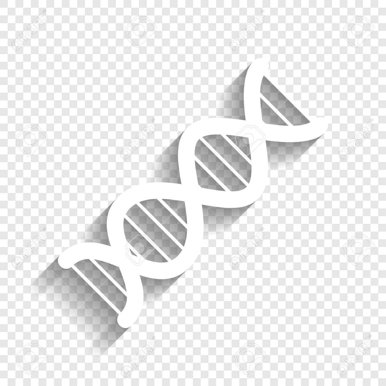 the dna sign. vector. white icon with soft shadow on transparent