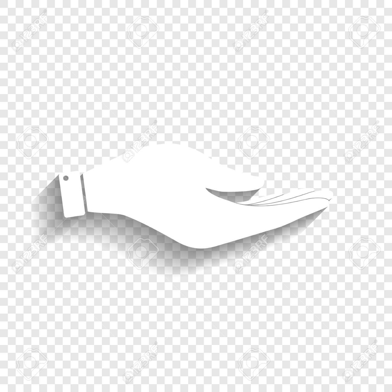手サイン イラスト。ベクトル。透明な背景にソフト シャドウのついた白い
