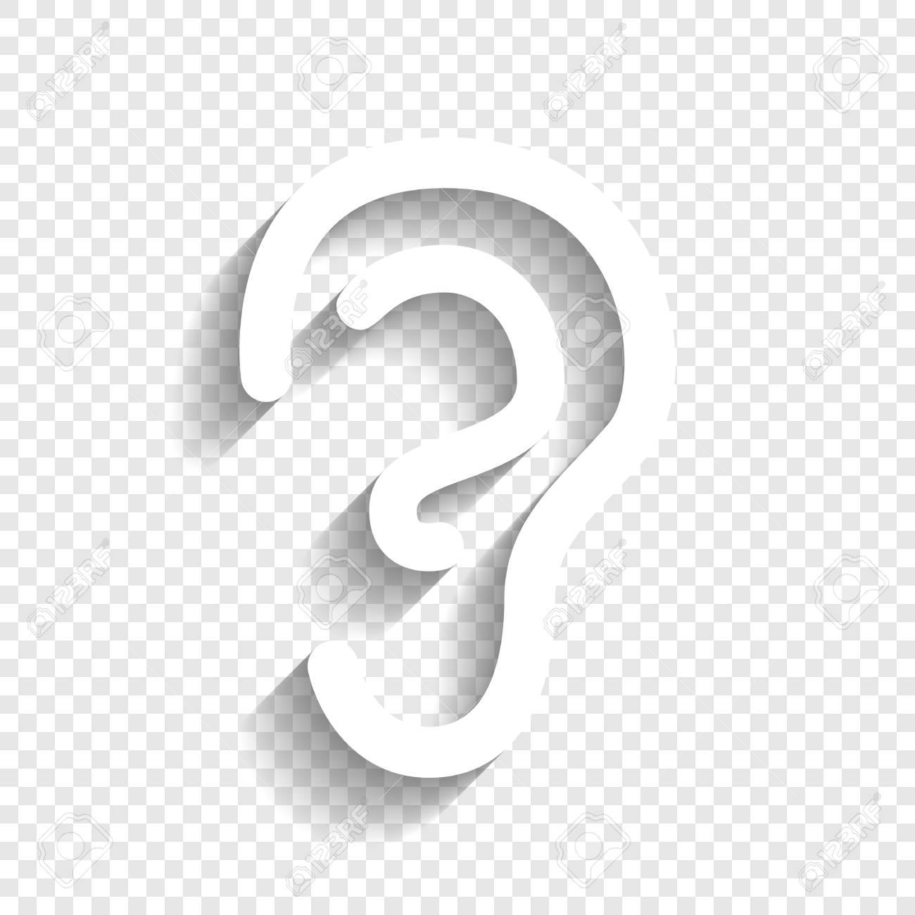 Menschliche Anatomie. Ohr-Zeichen. Vektor. Weiße Ikone Mit Weichem ...