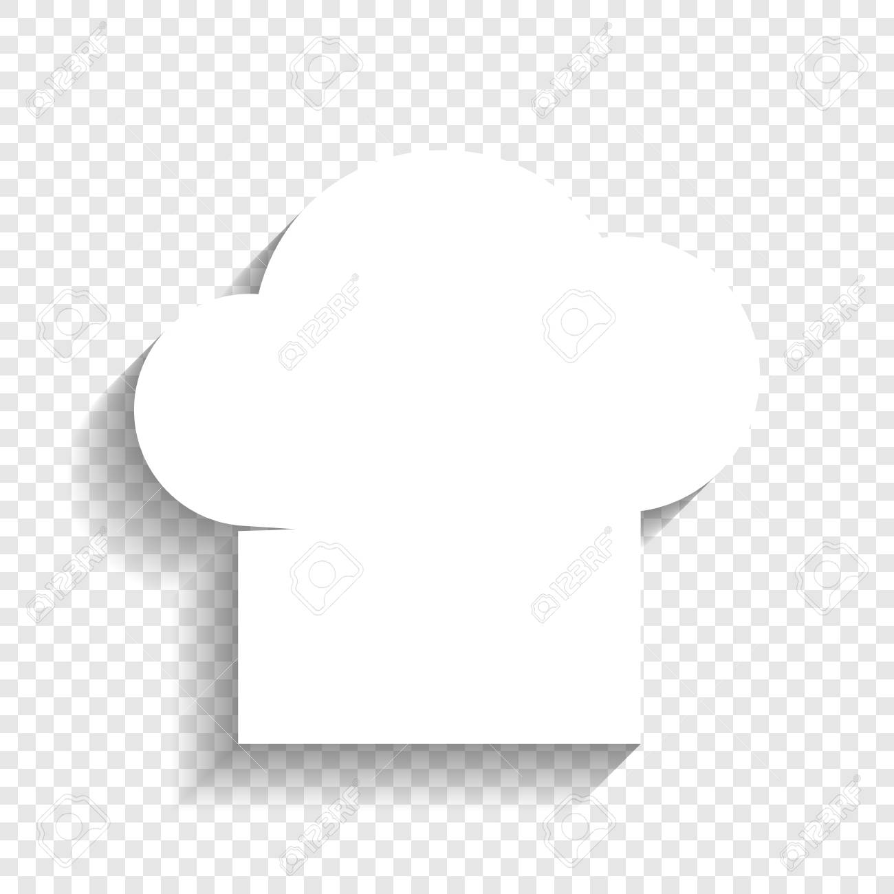 e1b0ffbe8447d Chef cap sign. Vector. White icon with soft shadow on transparent  background. Stock