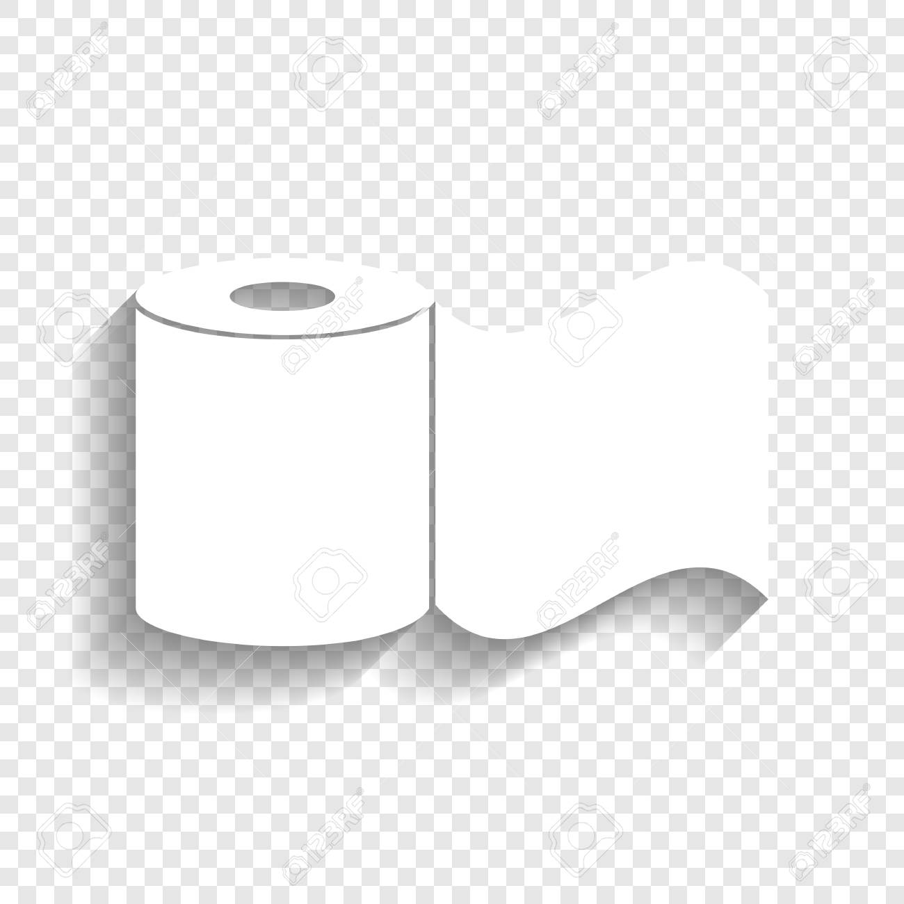 Toilet Paper Sign Vector White Icon With Soft Shadow On
