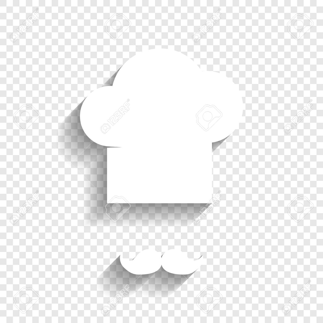 a51b7d5036dd6 Chef hat and moustache sign. Vector. White icon with soft shadow on  transparent background