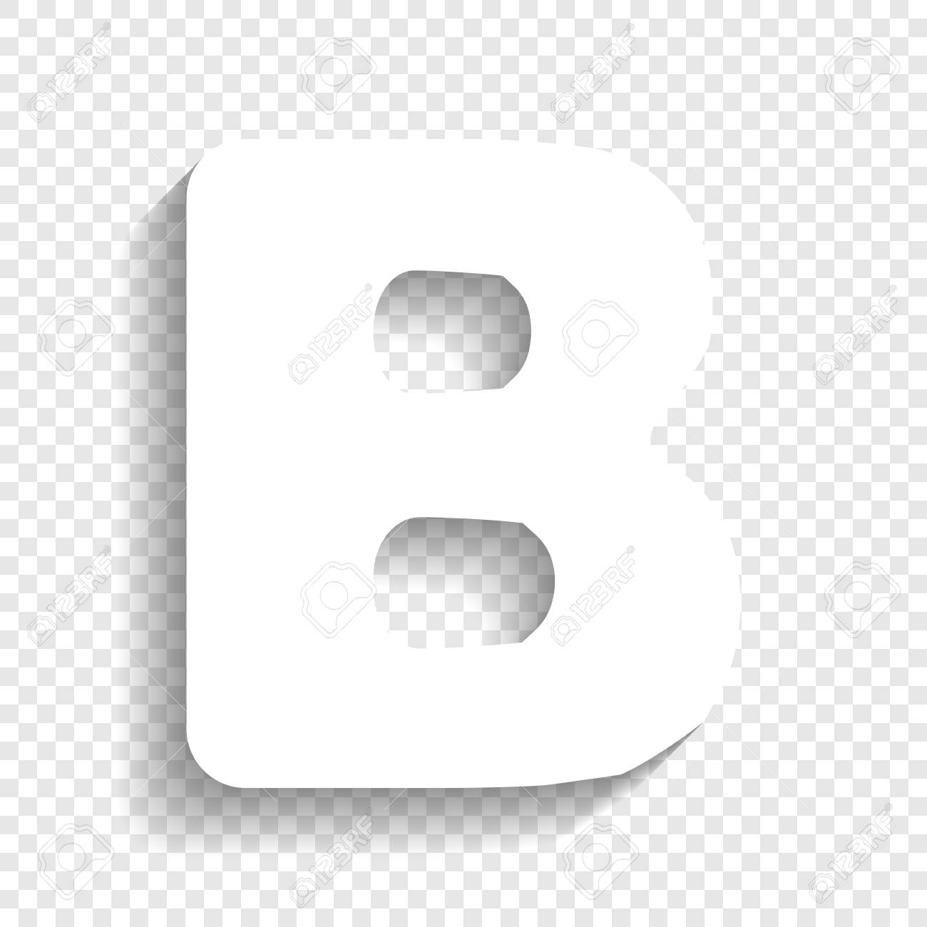 letter b sign design template element vector white icon with soft shadow on transparent