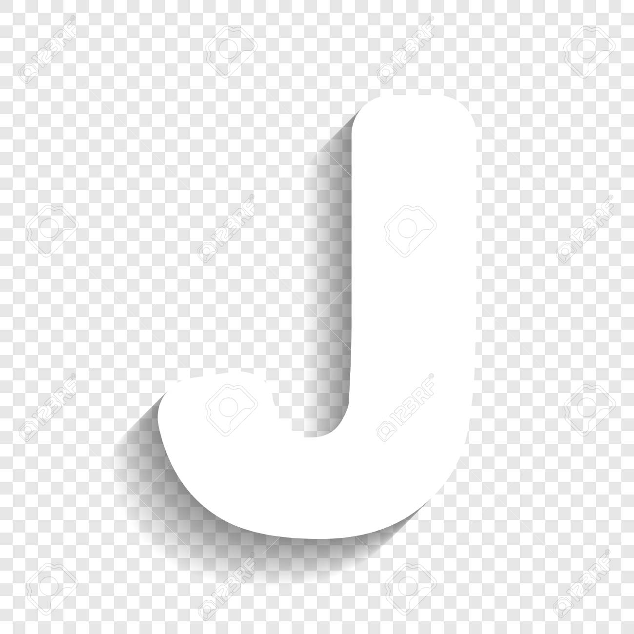 letter j sign design template element vector white icon with soft shadow on transparent