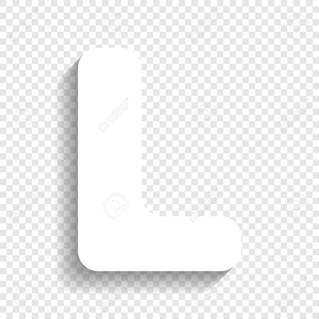 Letter L Sign Design Template Element. Vector. White Icon With ...