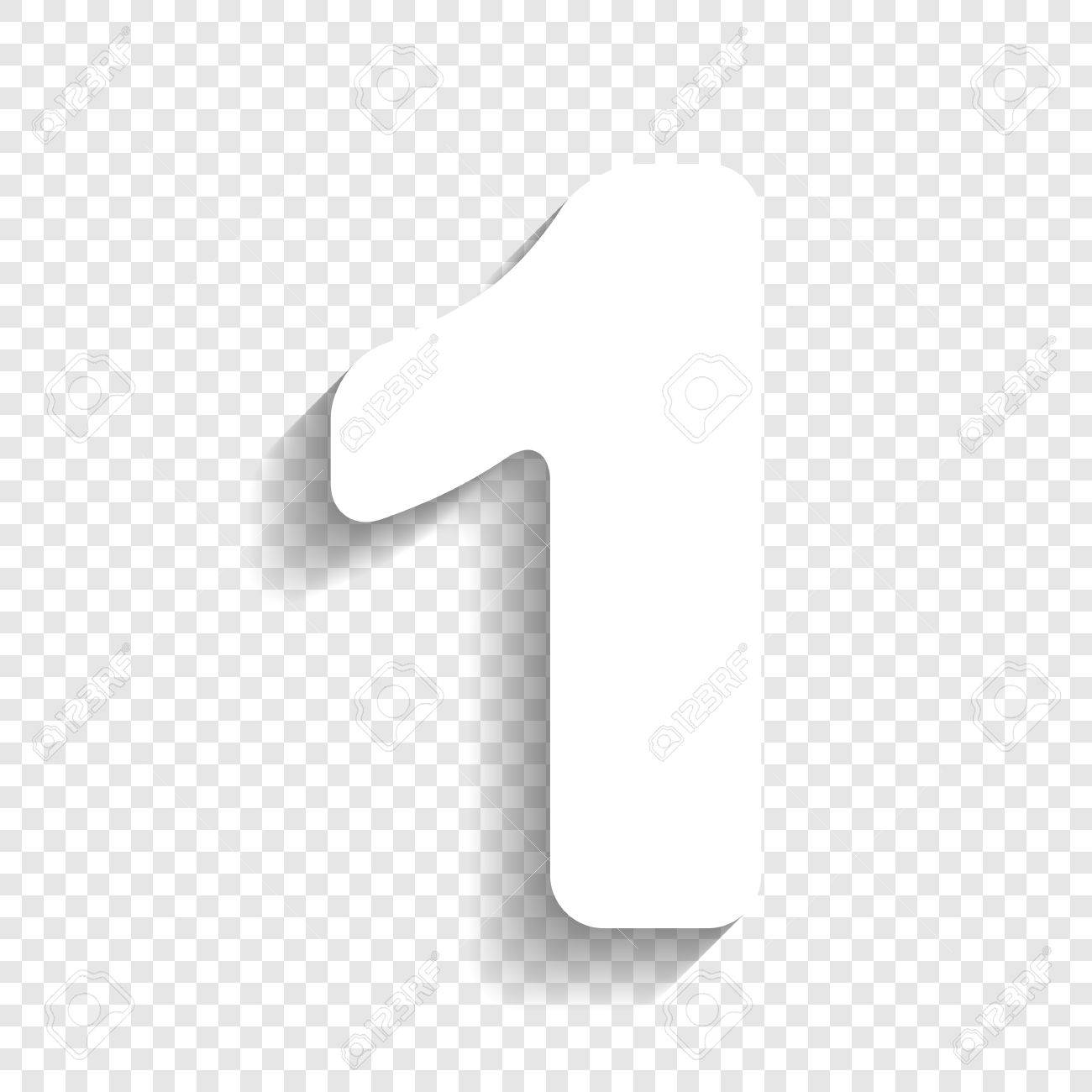 Number 1 Sign Design Template Element Vector White Icon With